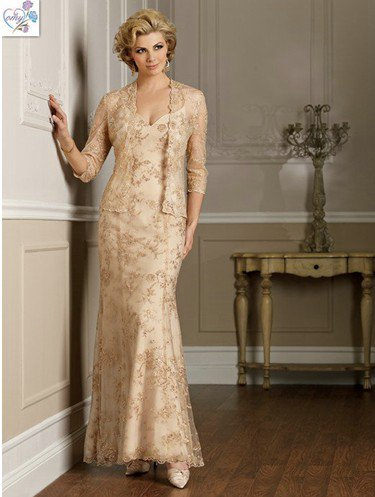 Champagne Long Mother of the Bride Dress Bronze Free JACKET .