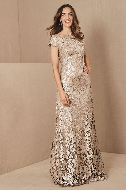 Gold, Taupe, and Neutral Mother of the Bride Dress