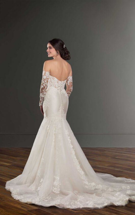 Mermaid Wedding Dress with Detachable Sleeves - Martina Liana .