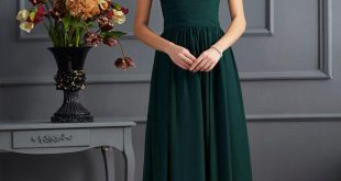 Forest Green Mother of The Bride Dress with Wrap,Chiffon Long .