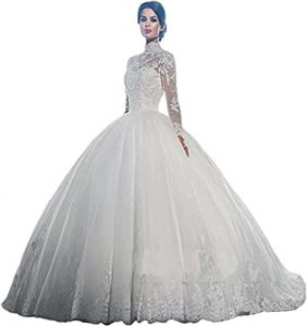 Amazon.com: Yuxin High Neck Long Sleeves Wedding Dress 2021 Lace .