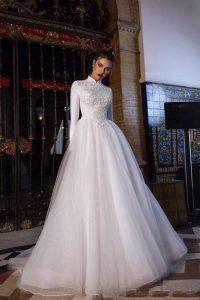 Discount2020 Muslim Wedding Dresses A Line High Neck Long Sleeve .