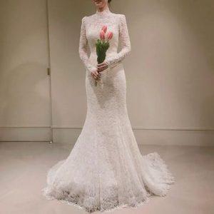 $235.99 High Neck Long Sleeves 2020 Mermaid Wedding Dress La