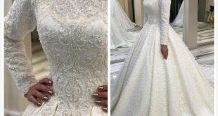 2019 Arabic Muslim Lace Beaded Wedding Dresses High Neck Long .