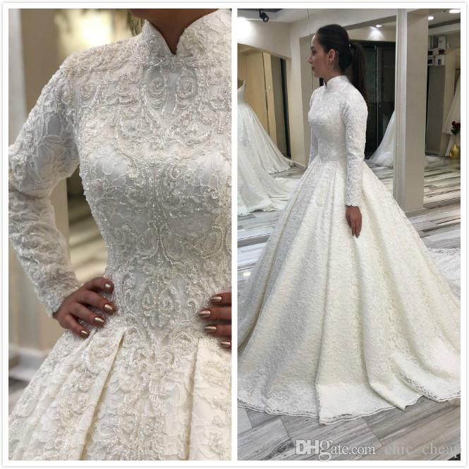Find More Coverage in a High Neck Long Sleeve Wedding Dress