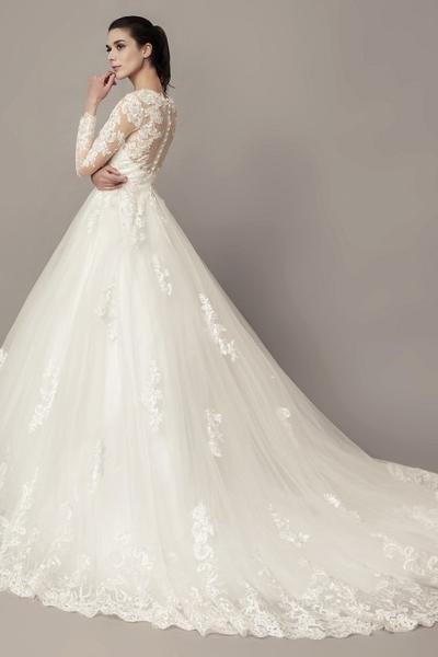 See-through Long Sleeves Ball Gown Wedding Dress Lace Tulle .