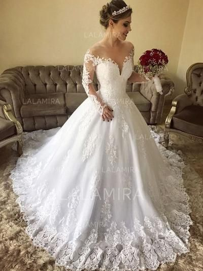 Off-The-Shoulder Ball-Gown Wedding Dresses Tulle Lace Long Sleeves .