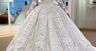 Sarah Bellini Long Sleeves Ball Gown Wedding Dress .