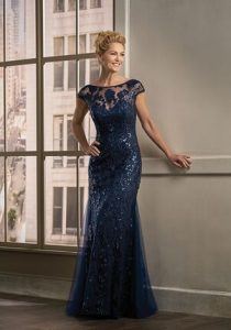 Illusion Neckline Mother Of The Bride Dresses   The Kn