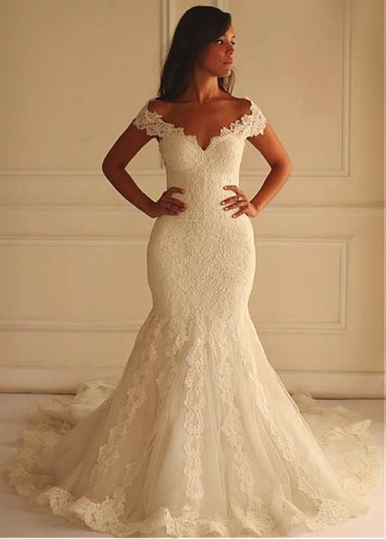 236.99] Stunning Tulle Off-the-shoulder Neckline Mermaid Wedding .