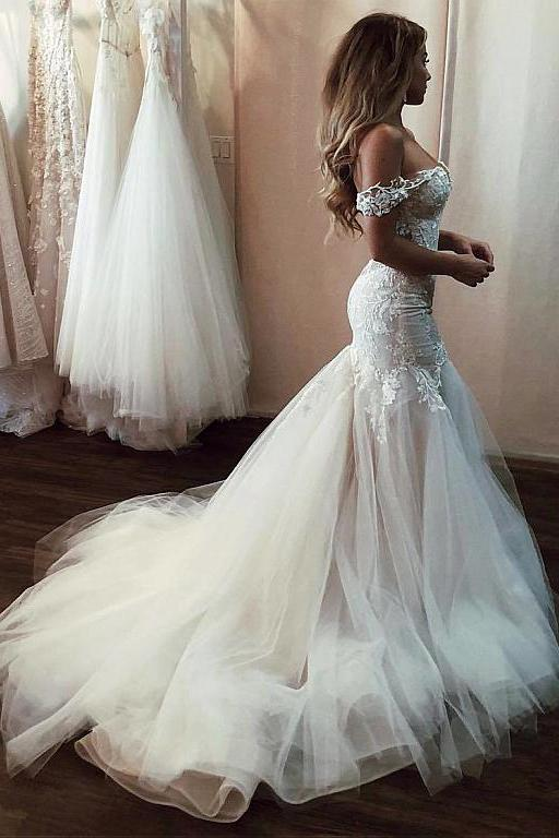 Off the Shoulder Mermaid Wedding Dress with Lace, Long Tulle .