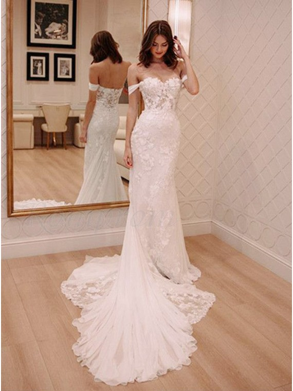 Off-the-Shoulder Mermaid Wedding Dress with Lace Appliques - $0.00 .
