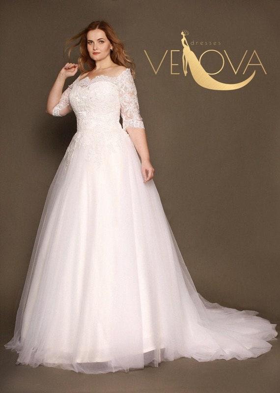 Plus Size Wedding Dress Long Sleeve Lace Wedding Dress Tulle | Et