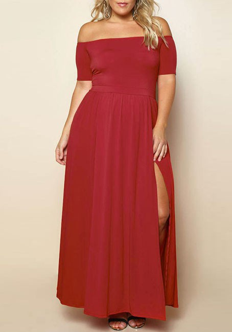 Stylish Designs of Your Choice in Plus Size off the Shoulder Maxi Dresses