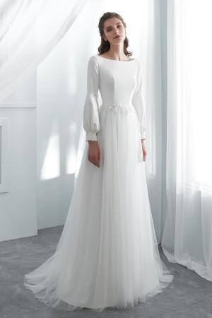 Simple Boho Wedding Dress with Bubble Sleev