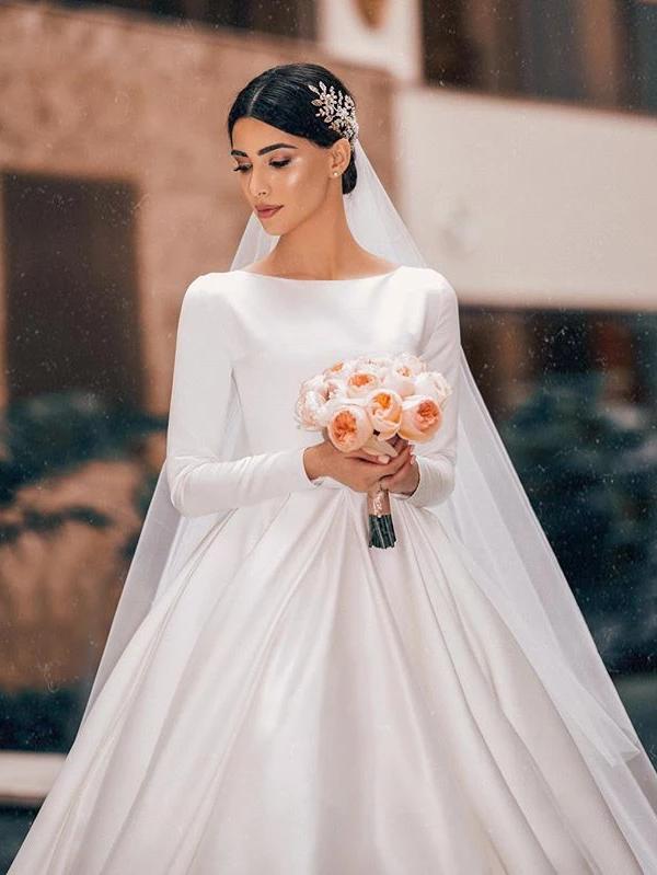 Elegant A-line Long Sleeve Simple Satin Wedding Dresses With .
