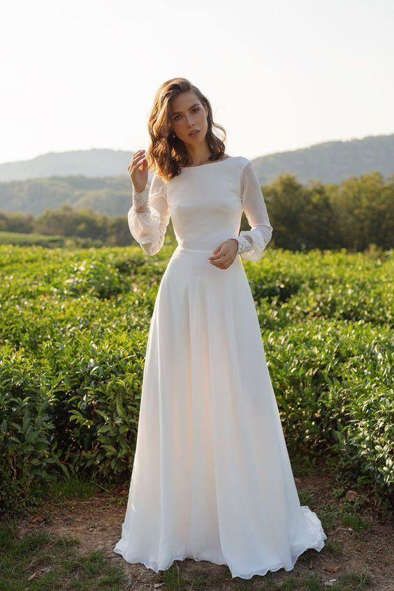 Chiffon wedding dress long sleeves simple | moonlight | Wedding .